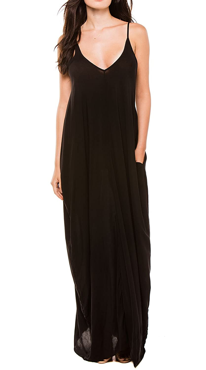 0352d4bf24 ELAN Billowy Black Maxi Dress with Spaghetti Straps and Pockets at Amazon  Women's Clothing store: