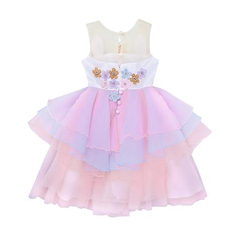 iEFiEL Vestido Disfraz de Nina Princesa Flores Fiesta Cumpleaños para Niña Bebé Traje de Ceremonia Actuación: Amazon.es: Ropa y accesorios