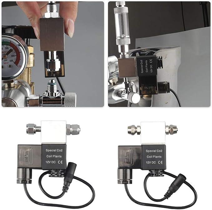 Weehey Válvula de solenoide de Salida 12V Acuario Regulador del Sistema de CO2 magnética eléctrica de Baja Temperatura para Acuario Tanque de Peces Planta de Agua Césped Crece fácil de Instalar: Amazon.com.mx: Hogar y Cocina