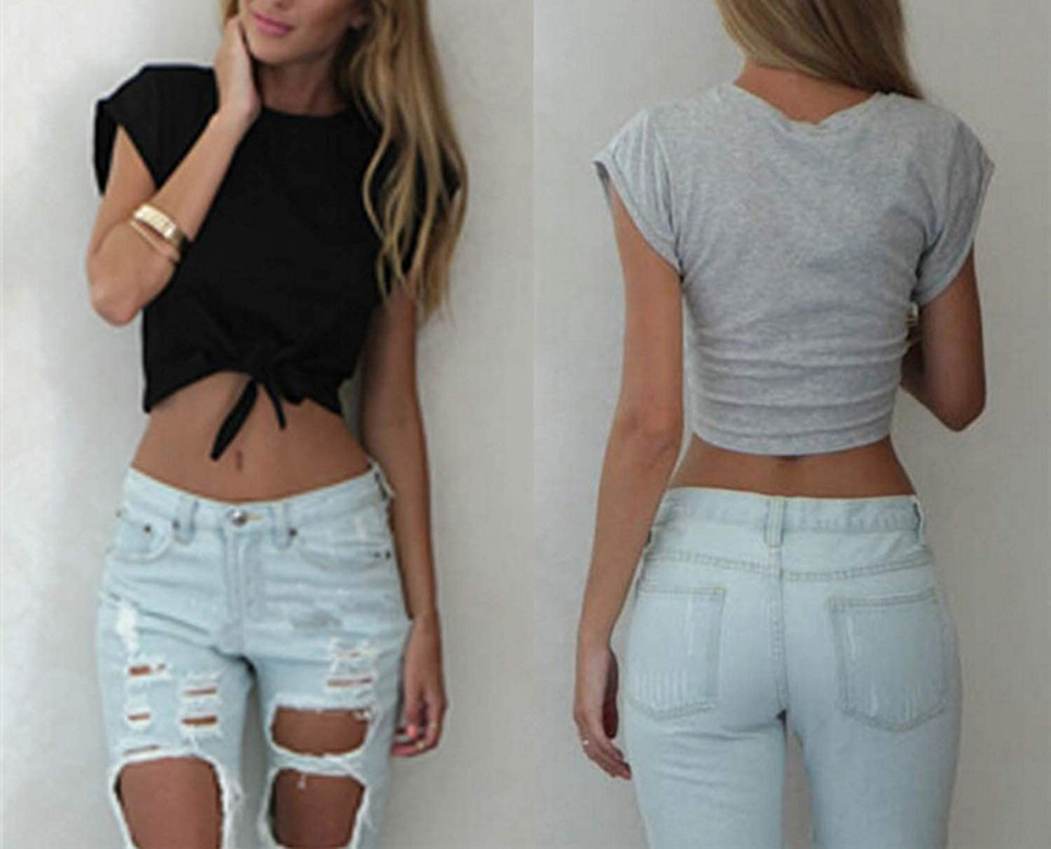 OHONLY-fashion-vests Women Knotted Tie Cropped T Shirt Casual Blouse Tanks White Grey Color