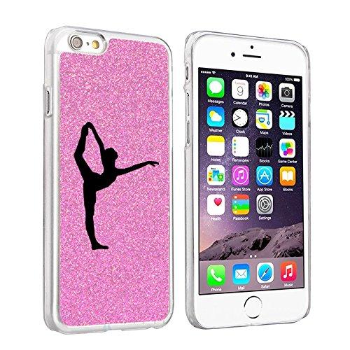 For Apple iPhone 6 6s Sparkle Glitter Bling Hard Back Case Cover Dancer Gymnastics (Light Pink)