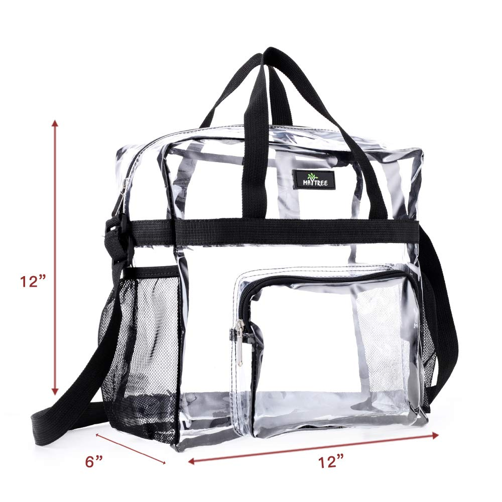 See Through Tote Bag for Work Clear Tote Bag Stadium Approved,Transparent Tote Bag Stadium Security Travel and Gym Clear Bag Sports Games and Concerts-12 x12 x6(Black)