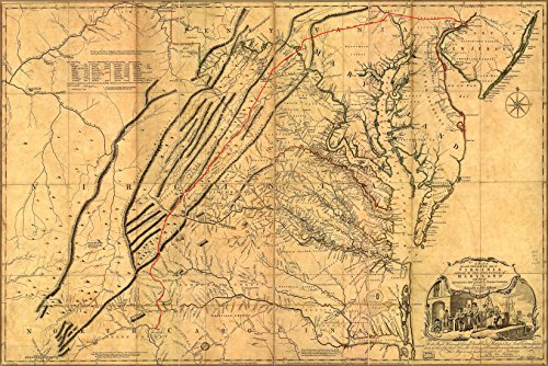 24x36 Announcement; 1751 Map Of The Most Inhabited Part Of Virginia Containing The Whole Province Of Maryland With Part Of Pennsylvania, New Jersey And North Carolina. Haggard By Joshua Fry & Peter Jefferson