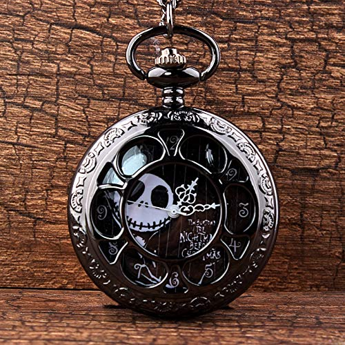 CHITOP Steampunk Tim Burtons- Nightmare Before Christmas -Hollow Quartz Pocket Watch for Jack Skellington and Sally Men Women Gift -