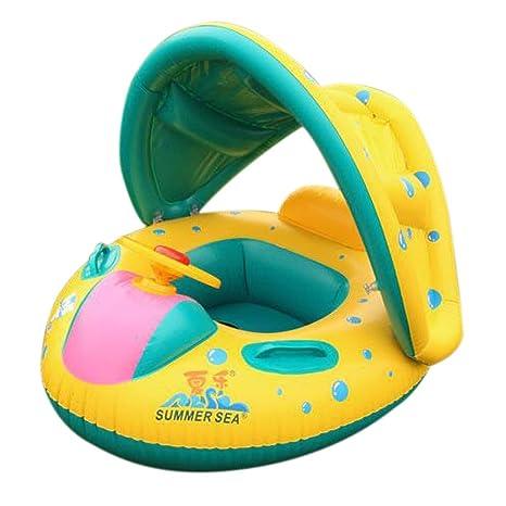 Hinchable flotador de baño parasol Sit círculo barco anillo sombrilla ajustable Swim Pool