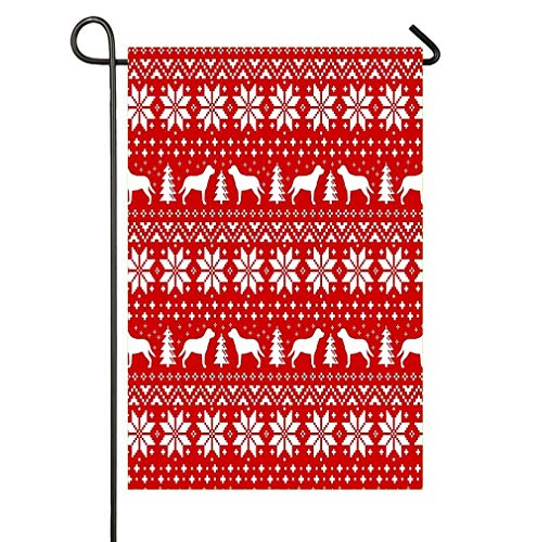 AoshangGardeflag Greater Swiss Mountain Dog Silhouettes Christmas Sweater Pattern House Flag Party Yard Decorative Double Sided Polyester Garden Flag Banner 12x18