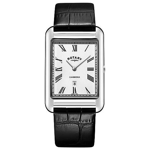 458b48e39bd6 Rotary Reloj de Correa de Cuero Negro Cuadrado Fecha Cambridge para Hombre  GS05280 01  Amazon.es  Relojes