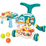 UNIH Baby Sit to Stand Learning Walkers & Activity Table, 2 in 1 Early Education Activity Center,Cute Seals Crab Musical…