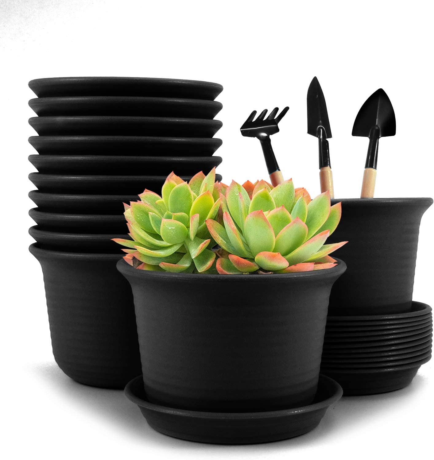 Baodan Plastic Flower Plant Pots, 6 inch Plant Containers with Drainage Holes and Trays, Decorative Round Seedling Nursery Planters for Indoor Outdoor, Set of 12- Plants Not Included (Black)