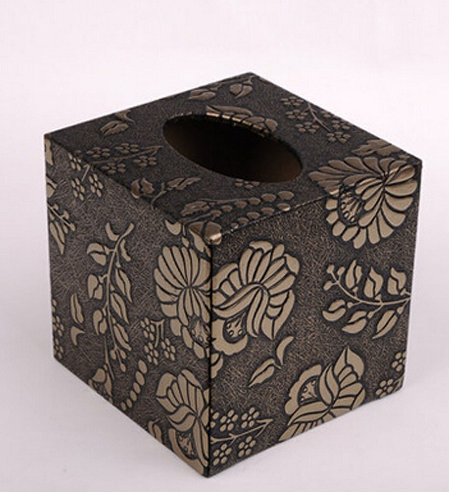 Leather Square Tissue Box Creative Personality Living Room Home Office Pumping Tray Box Garden Flowers