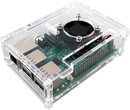 Raspberry Pi 2/3 modelo acrílico transparente case cover shell con ventilador enfriador: Amazon.es: Electrónica