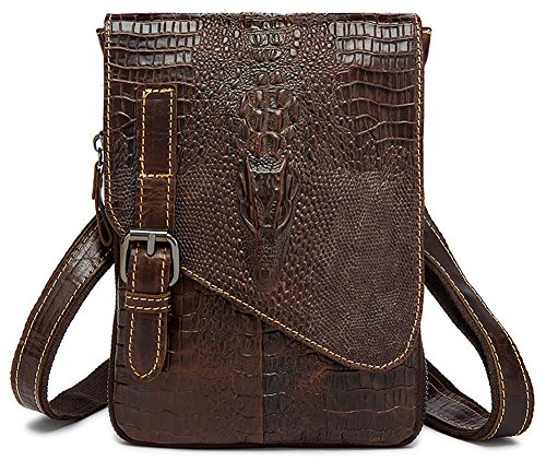 body Coffee Mens Bag Genuine Everdoss Leather Cross Unbalance Shoulder dw8nAa1qa0