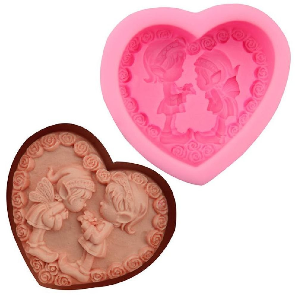 Inteeon Pet Series boy&girl heart shape angel mold soap candle molds silicone mold form