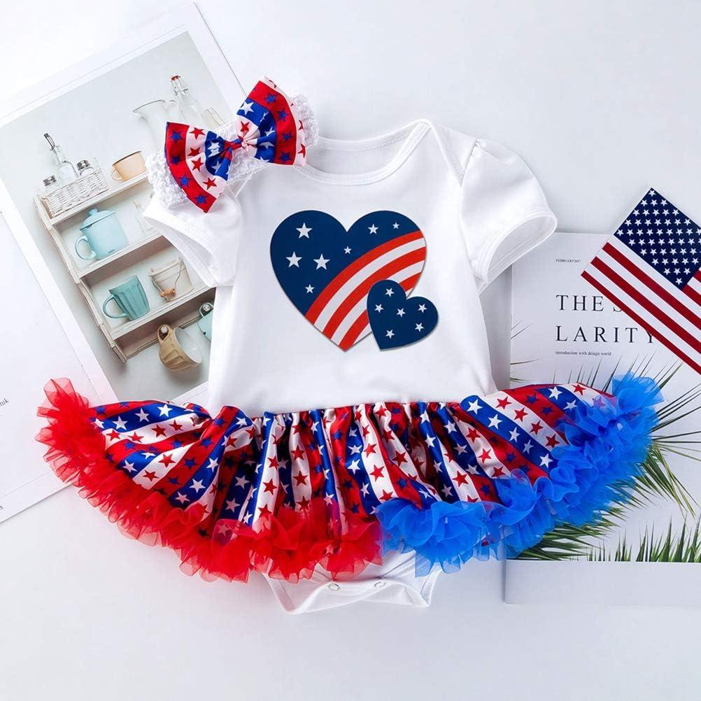 12-24 Mesi Amosfun 4 luglio Baby Girl Outfit Tutu Dress Bandiera Americana Stampato Arco Capelli patriottici Fascia per Neonato