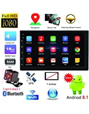 FairOnly 7'' Android 8.1 Double 2 DIN 16G Quad Core GPS Car Stereo MP5 Player FM + Rear Camera Without Camera