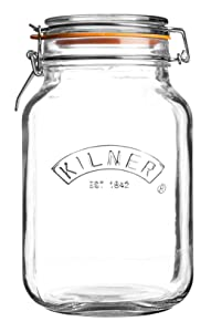 Kilner Square Clip Top Jar, Durable Glass Container with Airtight Seal for Home-canning, Preserving, and Storing, 51-Fluid Ounces