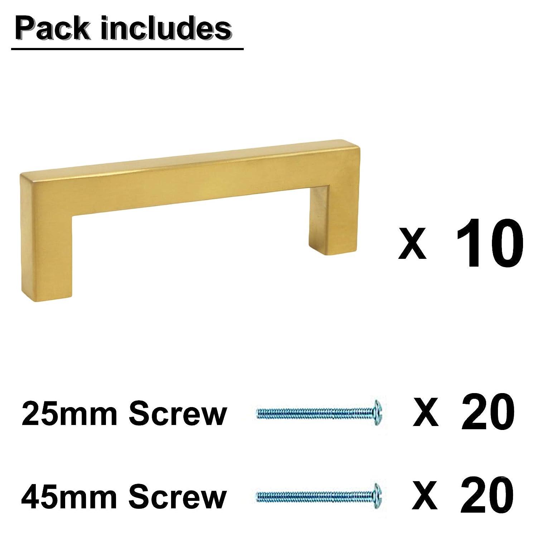 acero inoxidable color dorado acero inoxidable Hole Center: 96mm 20 Pack Tiradores para cajones de cocina Probrico lat/ón cepillado