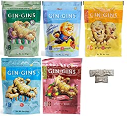 (pack of 5) The Ginger People Variety Pack Gin Gins (Original, Double Strength, Spicy Apple, Super Strength, Peanut ). Includes HolanDeli Chocolate Mints.