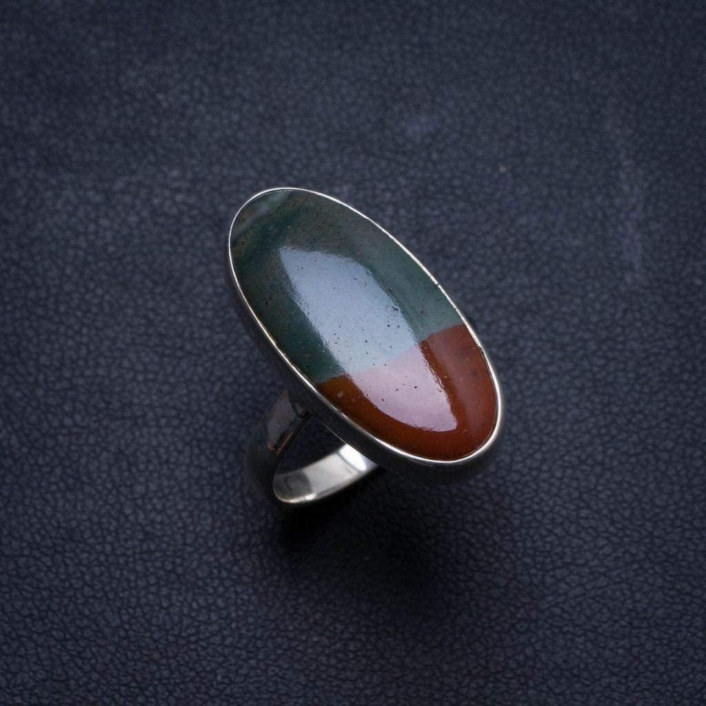 Size 6.75 U1722 Natural Rainbow Calsilica Handmade Indian 925 Sterling Silver Ring