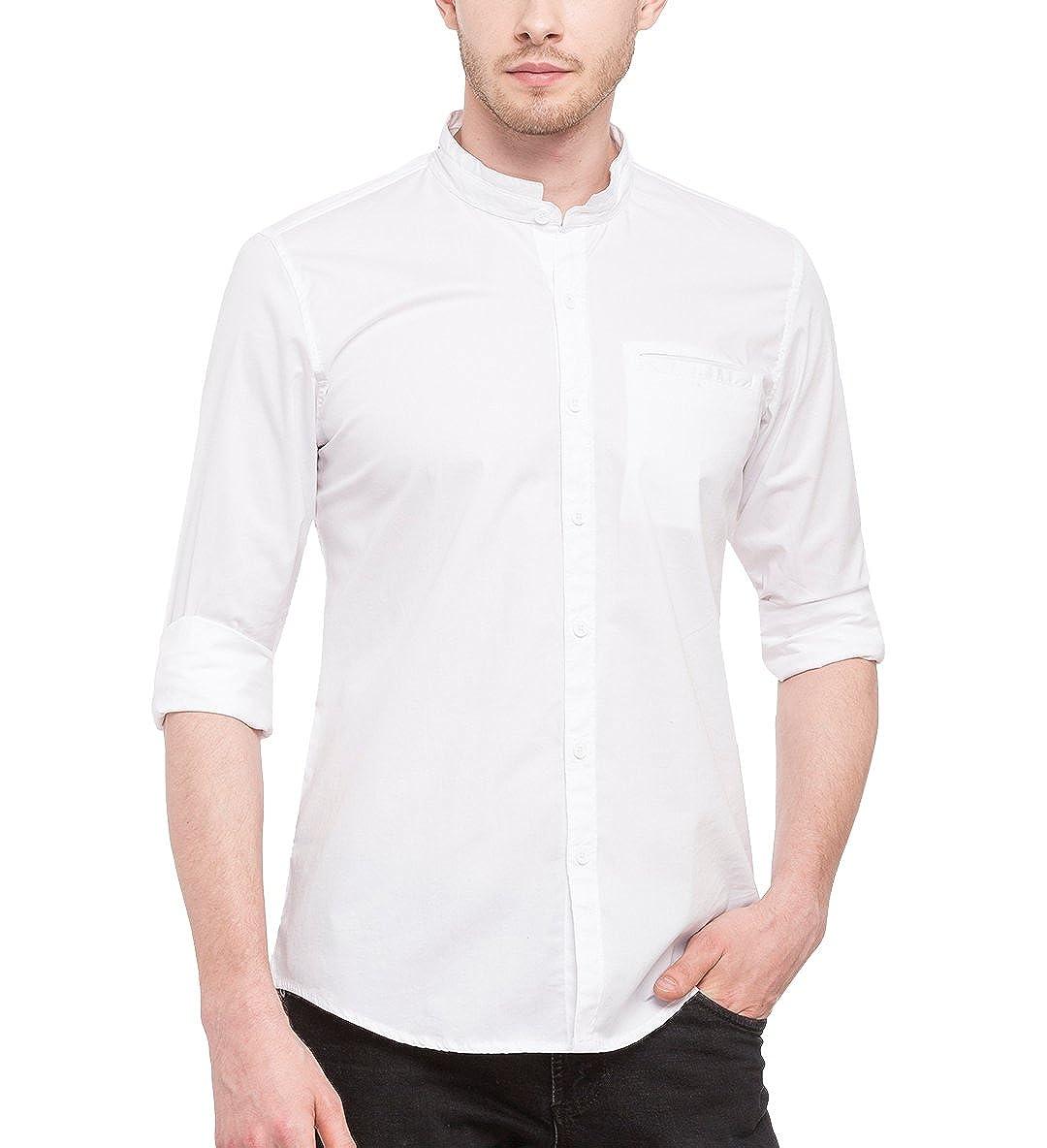 TALLA L(Chest:42in). Nick y para Hombre Jess Crema Mao Cuello Lycra de Algodón Slim Fit Shirt