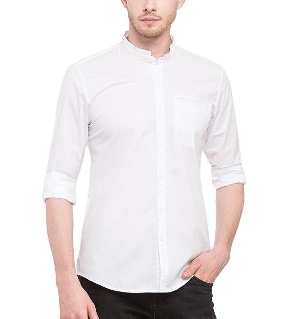 Nick y para Hombre Jess Crema Mao Cuello Lycra de Algodón Slim Fit Shirt   Amazon.es  Ropa y accesorios 5ad1ce4e4dc