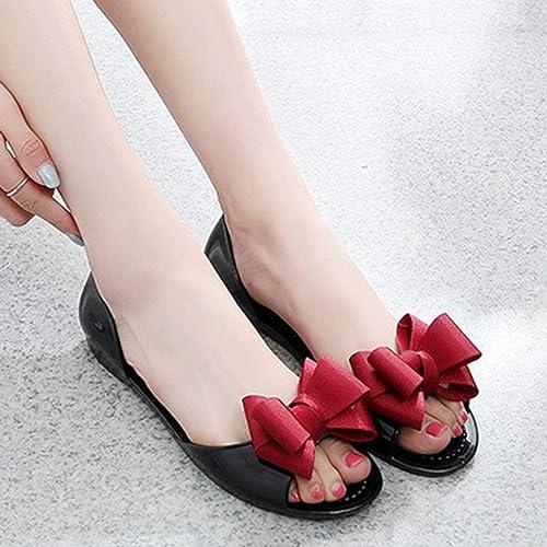 df32c61d5256de Mode Sommer Flache Schuhe Allgleiches Stil Offene Zehe Bowknot Gelee  Sandalen Frauen Mädchen Student Casual Slip