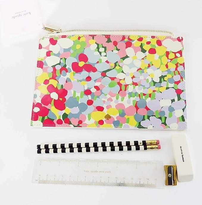 KATE SPADE Dots Pencil Pouch Bag Ruler New Metal Sharpener Eraser