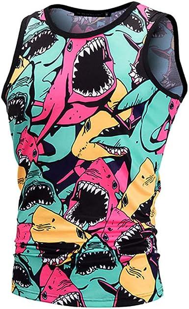 Star-bw Camisetas de Tirantes Hombre 3D Tiburon Sin ...