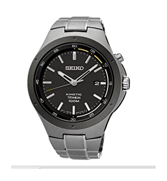 Seiko Kinetic SKA715 Black Dial Titanium Band Mens Watch by Seiko Watches