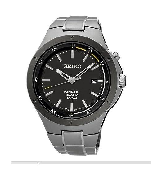 Seiko Reloj Analogico para Hombre de Kinetico con Correa en Titanio SKA715P1: Amazon.es: Relojes