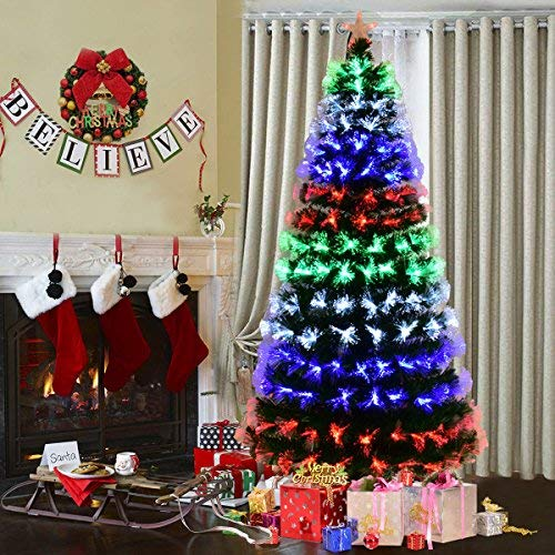 Goplus Pre-Lit Fiber Optic Christmas Tree Artificial Fireworks Spruce Tree w/ Multicolor LED Lights, Top Star & Solid Metal Stand (7 Ft) - Led Fiber Optic Christmas Tree