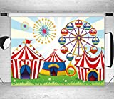 LB 7X5ft Circus Carnival Party Vinyl Photography Backdrop for Baby Kids Birthday Decoration Ferris Wheel Customized Photo Background Photo Studio Prop MB229