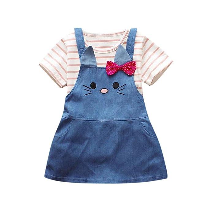 Amazon.com: Vovotrade para bebé niñas trajes 2 piezas rayas ...