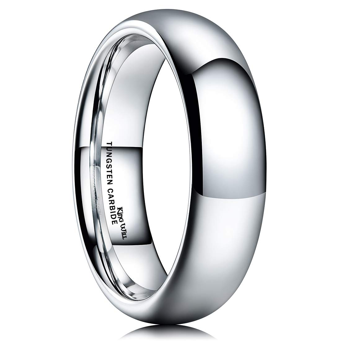 King Will Basic Men's 6mm High Polished Comfort Fit Domed Tungsten Carbide Ring Wedding Band 10