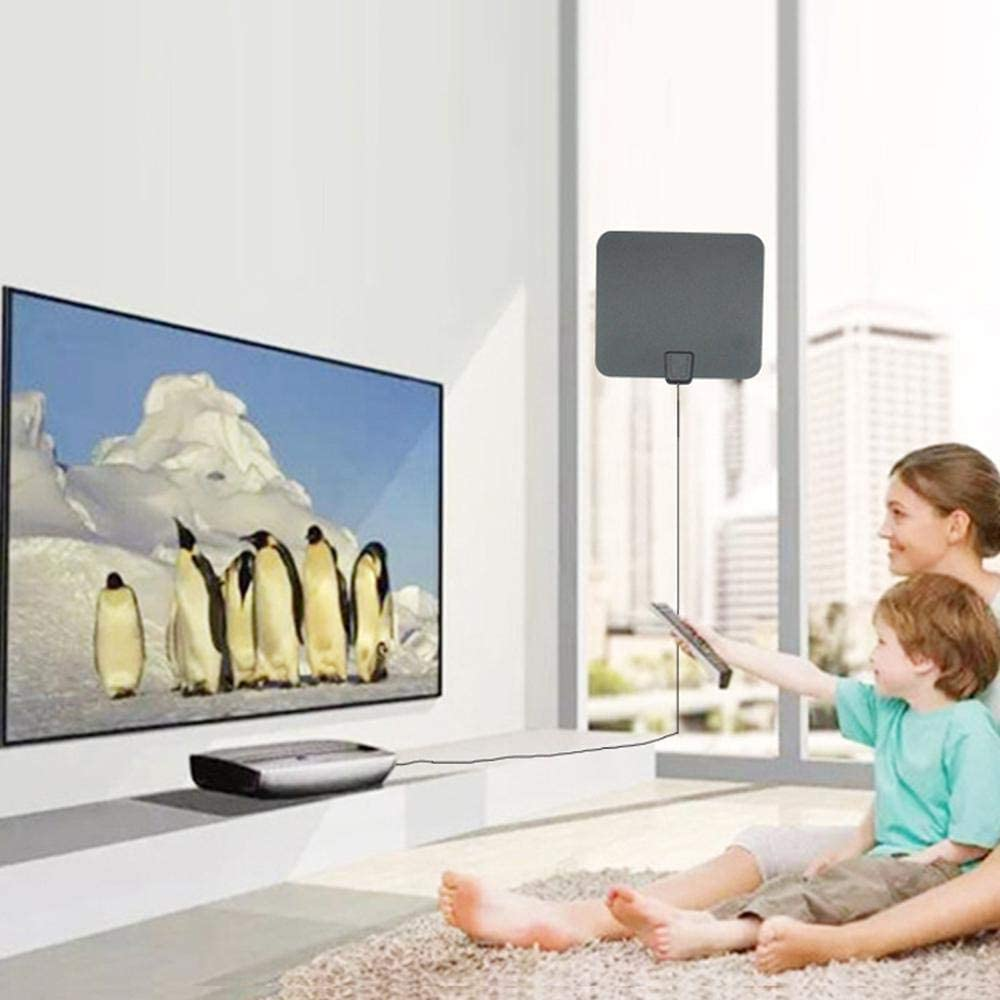 Antena de Antena de TV, Amplificador de señal de Antena de TV HD Smart TV Antena Buddy, Rango de 50 – 80 Millas Antena HDTV amplificada Interior para Todo Tipo de televisión
