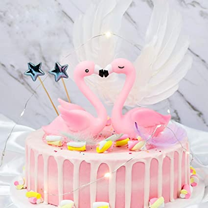 Cake Toppers For Kids Birthday Party Baby Shower Flamingo Decorations Bridal Wedding DIY Handmade