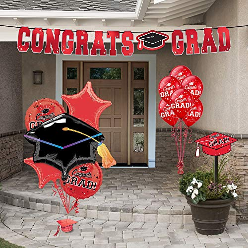 Party City Red Congrats Grad 2019 Graduation Outdoor Decorating Supplies with Banner, Yard Sign, Balloons, and More]()