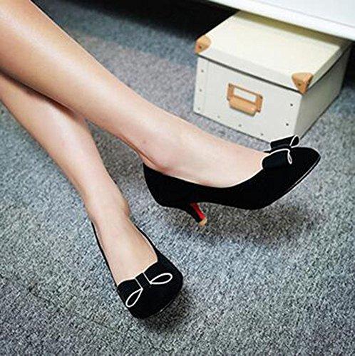 Chfso Mujeres Elegant Bow Slip En Punta Sólida Sobre Low Top Kitten Heel Pumps Black