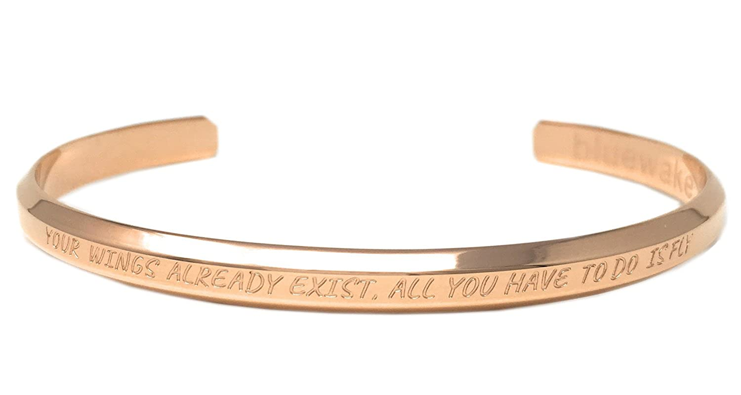 Bluewake & Co. Inspirational Jewelry Adjustable Cuff Band Bangle Mantra Bracelet, 316 L Stainless Steel Rose Gold) Simply Innovated