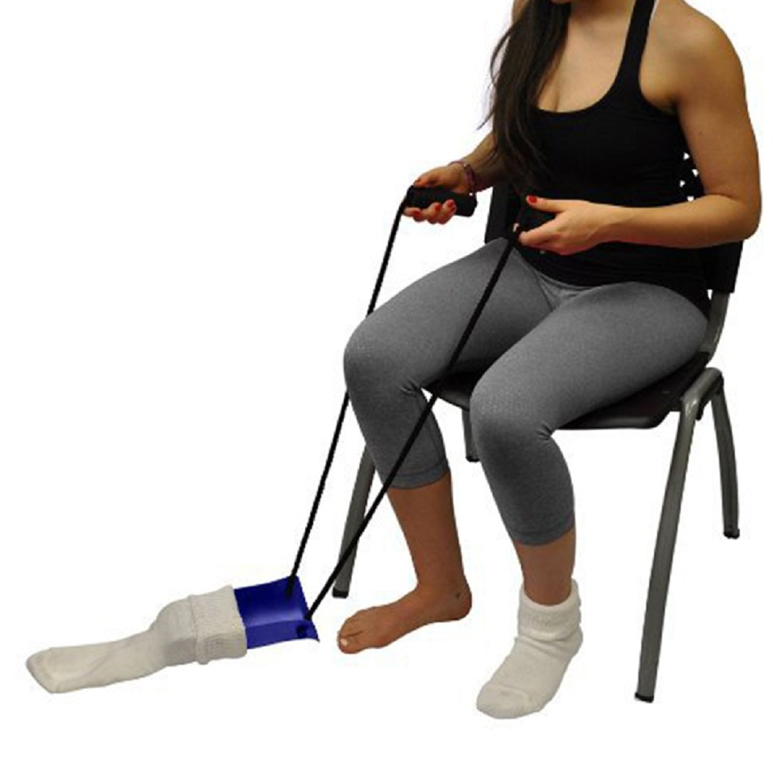 Tinsay Sock Aid with Foam Grip, Sutiable for People with Arthritis, Joint Pain and Limited Range of Motion, Cord Puller Assist Disability Elderly Tool 33 Inches (Blue)