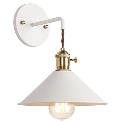I Yoee Wall Sconce Lamps Lighting Fixture With On Off Switch,White Macaron Wall Lamp E26 Edison Copper Lamp Holder With Frosted Paint Body Bedside Lamp Bathroom Vanity Lights by I Yoee