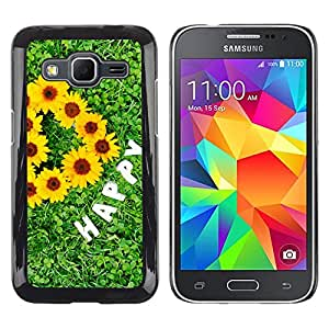 Planetar® ( Green Grasses Are Happy ) Samsung Galaxy Core Prime / SM-G360 Fundas Cover Cubre Hard Case Cover