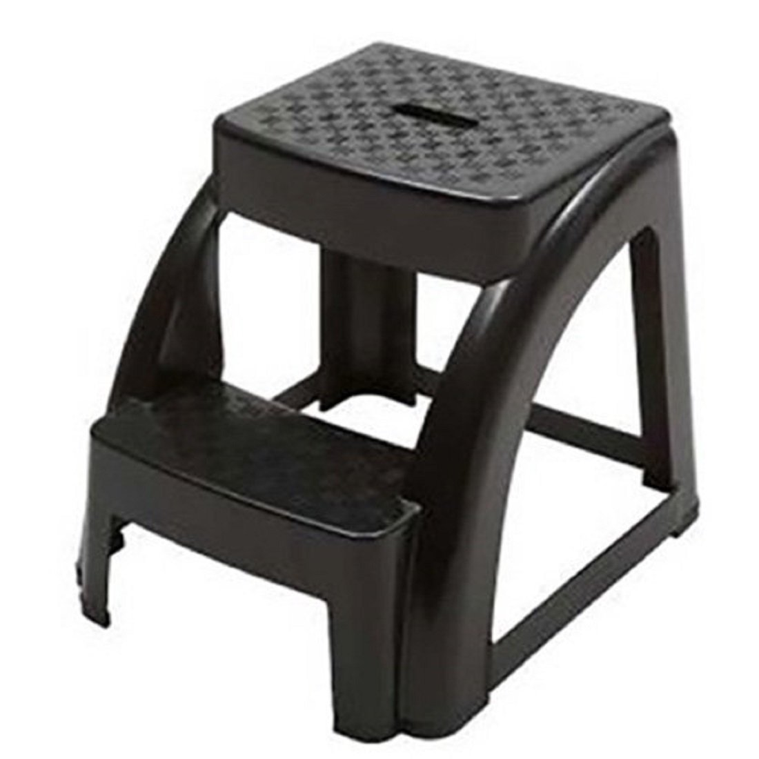 NTM 2-STEP ANTI-SLIP BLACK STEP STOOL - 250 LB. LOAD CAPACITY - 18'' L x 16'' W x 15'' H