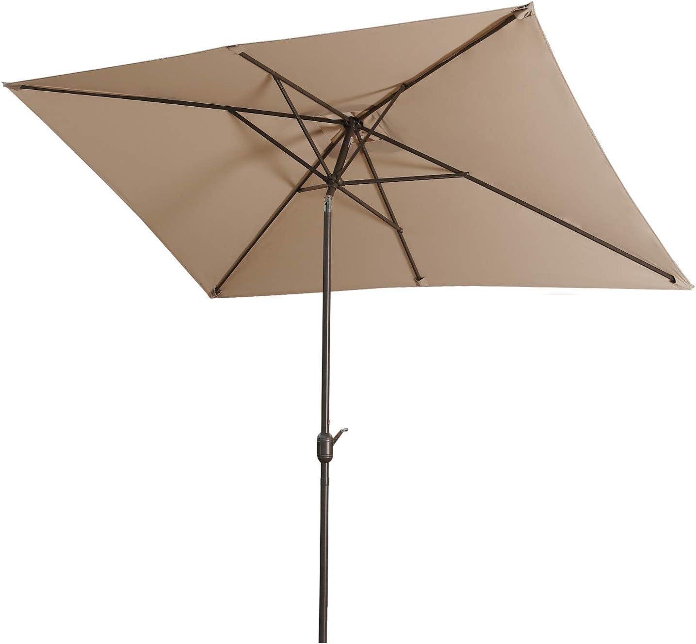 Aok Garden Outdoor Market Umbrella,10×6.5 Feet Square Patio Umbrella with Push Button Tilt and Crank Lift Ventilation,8 Sturdy Ribs Non-Fading Sunshade,Taupe Color