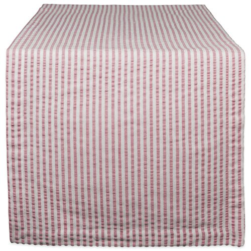 DII Cotton Seersucker Striped Table Runner for Dinning Room, Foyer Summer Parties and Everyday Use, 14x72'', Rose Pink and White by DII