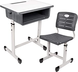 Kids Desk and Chair Set Height Adjustable Ergonomic Children Sturdy Table, Childs Study School Desk Kids Art Writing Desk (Black-A)
