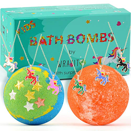 Unicorn Bath Bomb with surprise necklace for girls, Bath bombs for kids, Best Birthday Gift Idea, Kid Safe, Vegan, Handmade, Gender Neutral with Organic Essential Oils, 2 x 5.0 oz]()