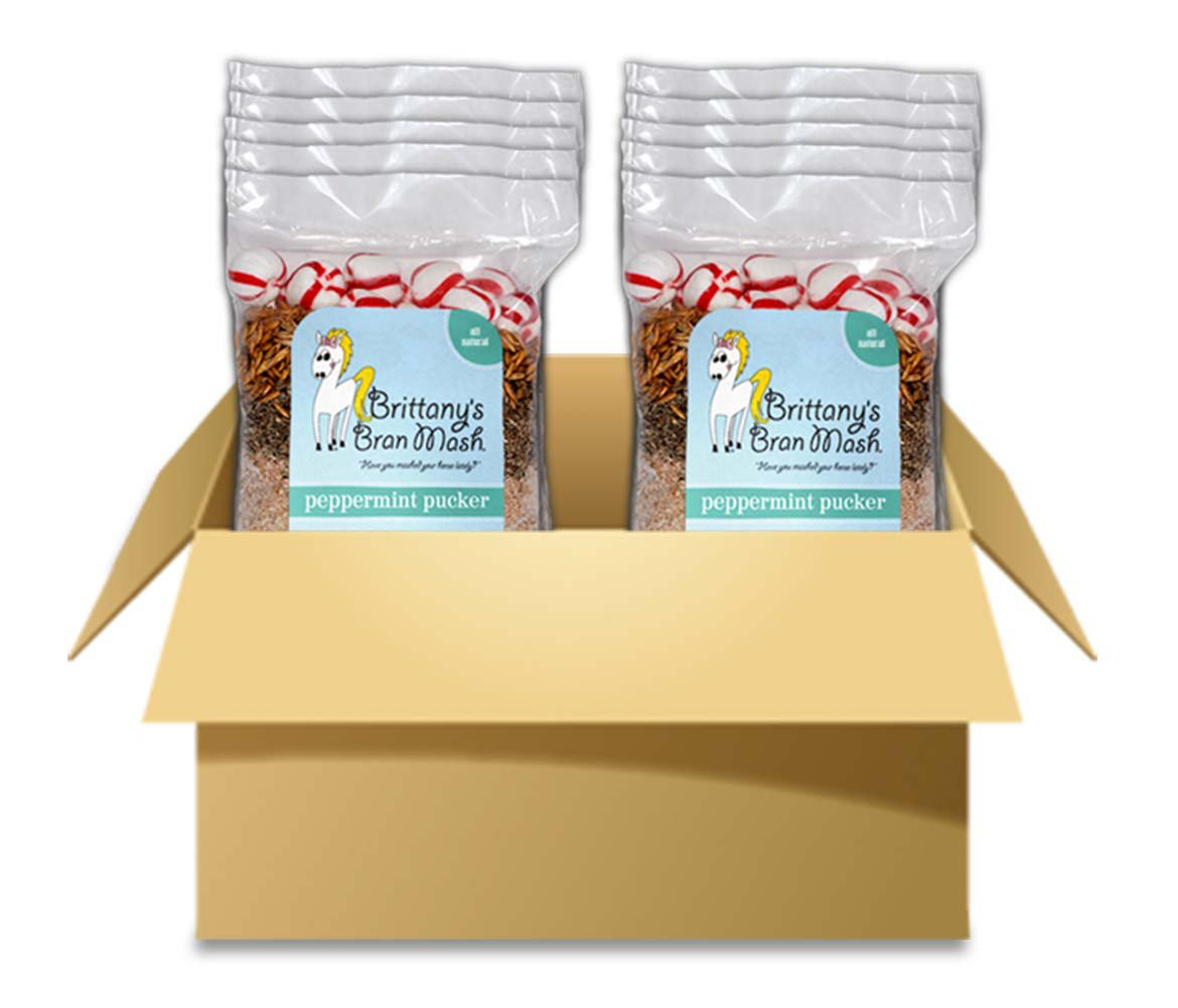 Horse Treats - Brittany's Bran Mash for Horses (Jumbo Size - (Case of 10 Bags), Peppermint Pucker)