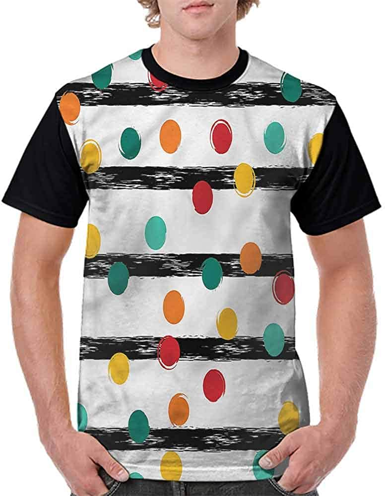 BlountDecor Performance T-Shirt,Stripes and Circles Fashion Personality Customization