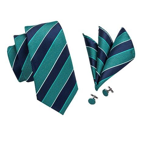 FDHFC Franja Verde Azul Clásica Corbatas De Hombre 8.5 Cm De Ancho ...